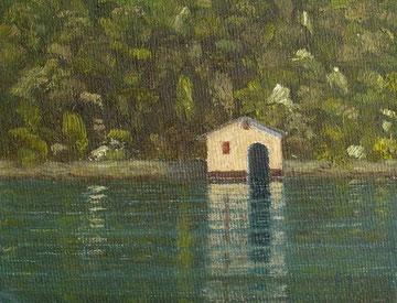Bootshaus am Luganer See (Öl auf Leinwand, 7,4 x 12,3 cm, unverkäuflich)