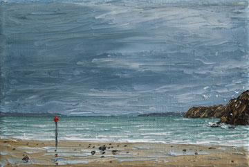Walisische Küste II (Öl auf Leinwand, 10 x 15 cm, verkauft)