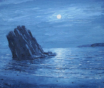 Mondnacht in Wales (Öl auf Leinwand, 9,1 x 10,9 cm, verkauft)