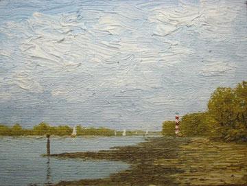 Am Falkensteiner Ufer (Öl auf Leinwand, 7,9 x 10,6 cm verkauft)
