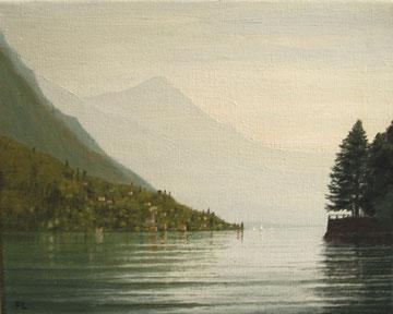 Luganer See bei Albogasio (Öl auf Leinwand, 24 x 30 cm, unverkäuflich)