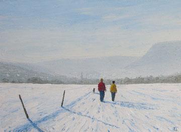 Winter bei Owen/Teck (Öl auf Leinwand, 14 x 19,5 cm, verkauft)