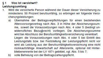 """Auszug aus den Allgemeinen Versicherungsbedingungen für die """"Golden BU Vorsorgeschutz""""."""