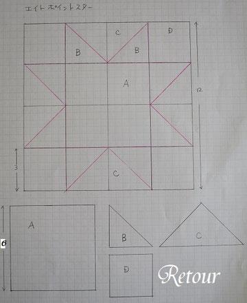パッチワーク教室ルトゥール エイトポイントスター製図