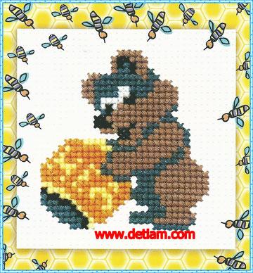 """Схема для вышивания """"Медведь"""" на сайте www.detiam.com"""