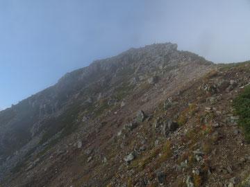 下山中に水晶岳を振り返る