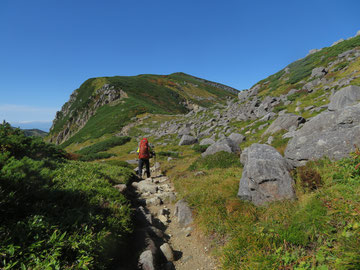 岩苔乗越から祖父岳への登り