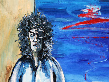 """""""Das Scheitern"""" (der Maler zerstört sein blaues Bild mit einem roten Pinselstrich - und schafft damit etwas Neues.)"""