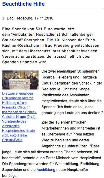Sauerlandkurier, 07.11.2010