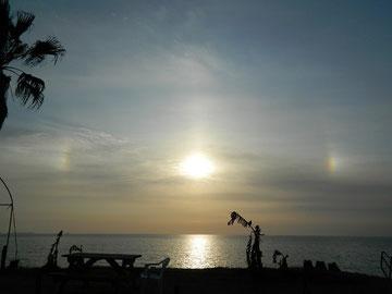 太陽の周りに虹??