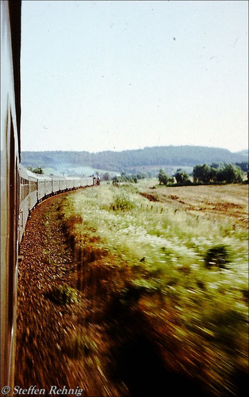 BR 01.5 am E 800 Saalfeld - Gera - Leipzig zwischen Gera und Krossen (1980)