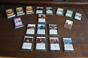 """Dominion - mögliche Spielauslage mit Karten des Grundspiels """"Was für eine Welt!"""""""