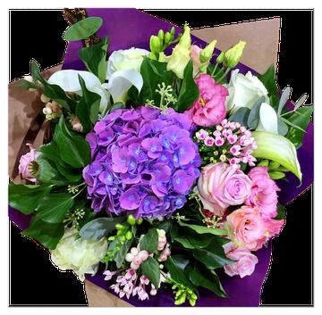 pink/white/purple | バラとあじさいの基本スタイル、蘭の入っていないタイプです。