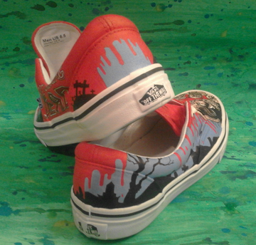 custom made painted shoes The Walking Dead