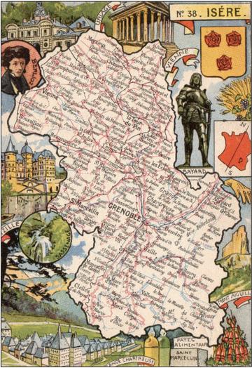 Recto d'une carte postale timbrée envoyée depuis l'Isère