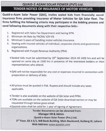 Tender for Motor Vehicle Insurance 4/6/2015