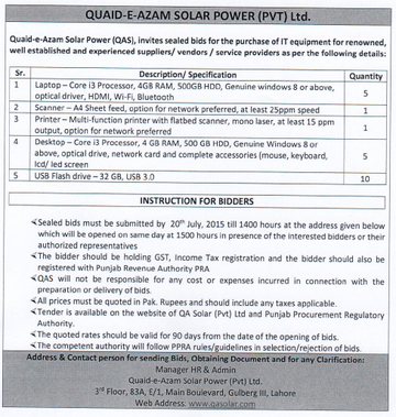 Tender for IT Equipment 1/7/2015