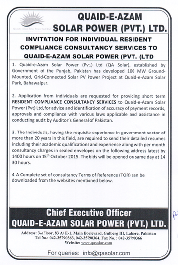 Individual Residence Compliance Consultant 23/9/2015