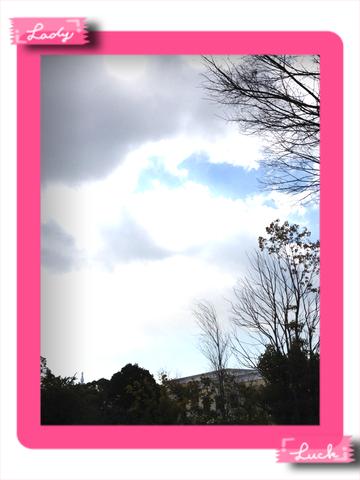 式場からみたお空です。雲がかかっていますが、最近は暖かくなってきましたので、調度いい気温の中、お式が行われました。