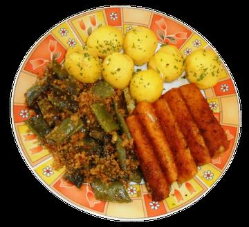 Butterbohnen mit Pellkartoffeln und Fisch