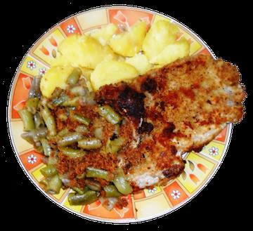 Butterbohnen mit Salzkartoffeln und Kotelett