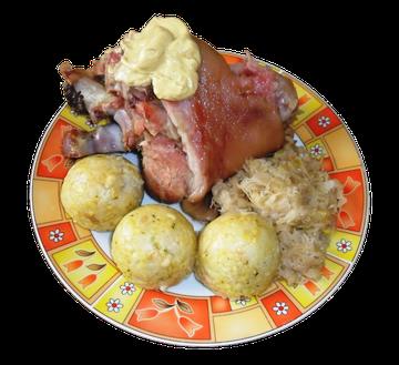 Eisbein mit Klöße und Sauerkraut