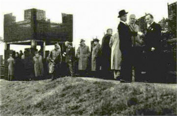 The rebuilt north-west corner of Metchley fort opened by the Lord Mayor in 1953