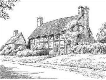 Old Cottages in Shard End, demolished in 1951 - drawn 1951. Thanks for the use of this image to E W Green, Historic Buildings in Pen & Ink - The Work of William Albert Green.