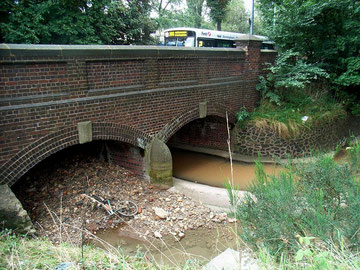 The Bristol Road crossing of the Bournbrook. The photograph was taken after a rainy week - this is clearly a muddy stream.