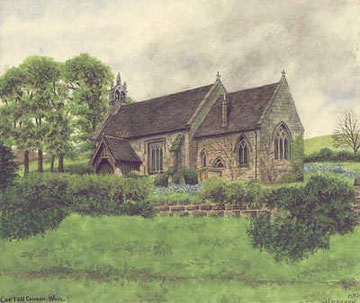 St Michael's Church, Cofton Hackett - painted in 1928. Grateful thanks and acknowledgements for the use of this image to E W Green, Historic Buildings in Pen & Ink - The Work of William Albert Green.