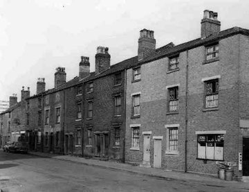 Bridge Street West in 1968, a street of terraces, tunnel-backs and back-to-back houses.