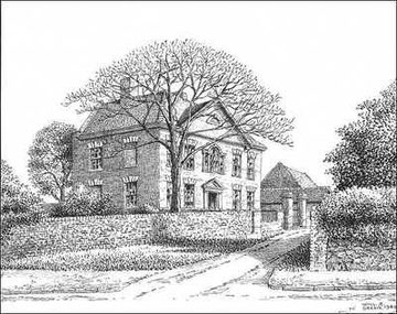 18th-century Tinkers Farm, demolished in 1940, and The King's Highway Hotel built on the site - drawn 1940. Grateful thanks for the use of this image to E W Green, Historic Buildings in Pen & Ink - The Work of William Albert Green.