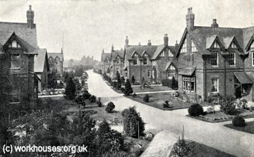 Shenley Fields Cottage Homes c1905. Photograph kindly supplied by Peter Higginbotham 'All Rights Reserved'; contact him for permission to reuse. See Acknowledgements for a link to his website, The Workhouse.