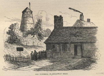 Holloway Head windmill from R K Dent 1880 'Old & New Birmingham', a work now in the public domain.