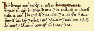 Handsworth's entry in the Domesday Book from Open Domesday. See Acknowledgements to link to that website.