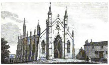 Holy Trinity Church. Image from Beilby, Knott & Beilby 1830 An Historical and Descriptive Sketch of Birmingham, a work in the public domain.