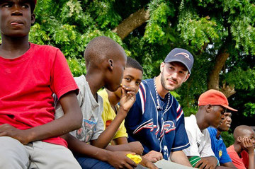 Keith hanging with some of the kids the DR