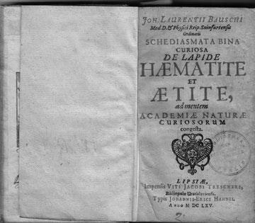 Das Buch Schediasmata Bina Curiosa de Lapide Haematite et Aetite