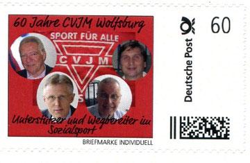 Sport für alle: Wolfgang Wellmann (von links), Reinhard Rawe, Karl-Heinz Steinmann und Manfred Wille auf einer CVJM-Briefmarke