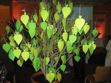 Der Baum des Lebens mit Wünschen von Teilnehmernnen und Teilnehmern der internationalen CVJM-Konferenz