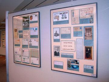 Zwei Ausstellungstafeln aus der Briefmarkensammlung von Eckard Geisler