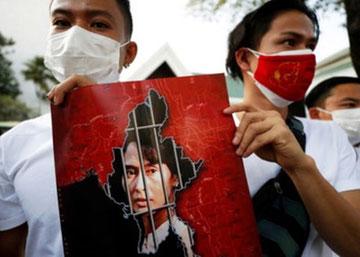 Den fængslede statschef Aung San Suu Kyi