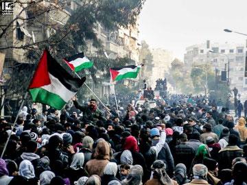 Protestdemo mod bombningen af Yarmouk