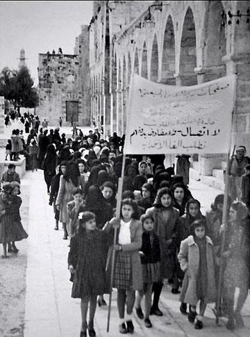 Jerusalem 1930: Palæstinensiske kvinder i protestdemo mod den jødiske indvandringsbølge