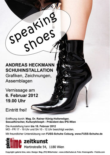 """galerie time Ausstellung """"speaking shoes"""" Andreas Heckmann Schuh Installationen Foto: Kramografie - Fotolia.com"""