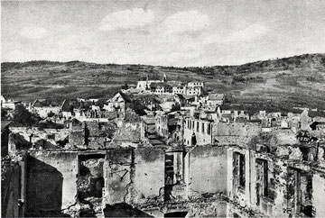 Sigolsheim destroyed with Hill 393 and the Monastery in the back