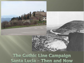 The site of the Panther turret at Santa Lucia - Then and Now