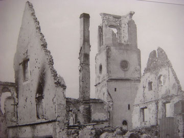 The church of Bennwihr in ruins