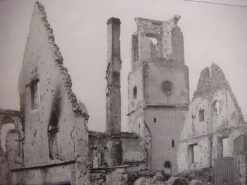 The church of Bennwihr in ruins