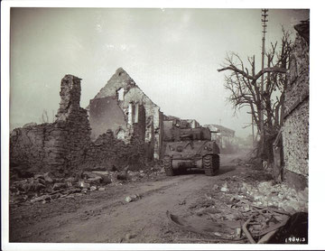 Tank support coming from Bennwihr on Dec. 27 provided by B Company, 756th Tank Battalion (Photo courtesy National Archives)